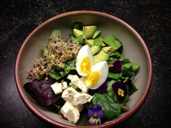 Greens, Avocado, Feta, Egg and Seeds